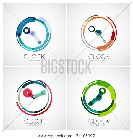 Vector collection of clock, time company logo designs, business symbols concepts, minimal line style