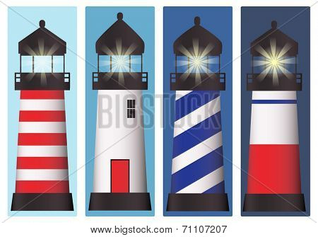 A set of four lighthouses at different times of the day and night. EPS10 vector format