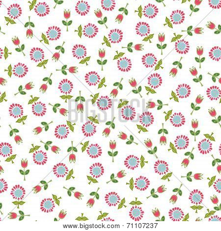 Seamless Background From Small Pink Flowers.