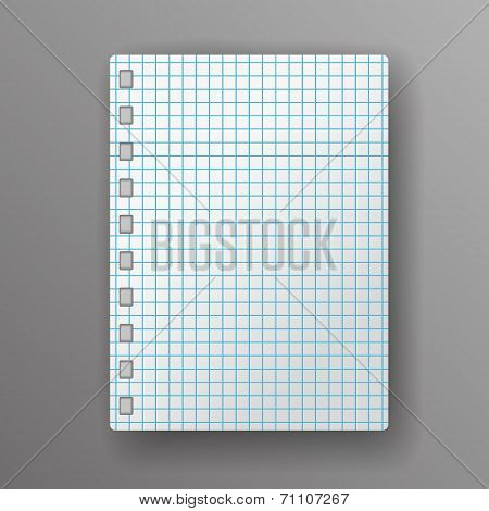 Page Of His Notepad In A Cell On A Gray Background With Shadow.