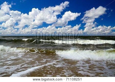 Baltic Sea And Cumulus Clouds