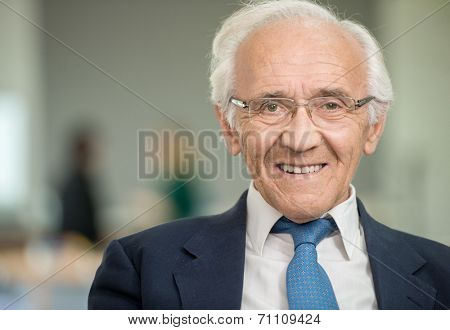 Portrait of an senior god looking business man with suit and old gray hair