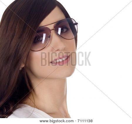 Fashion Portrait Of Sexy, Young, Beautiful Woman Wearing Sunglasses