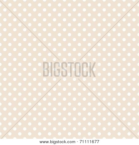 Tile vector pattern with white polka dots on pastel beige background.