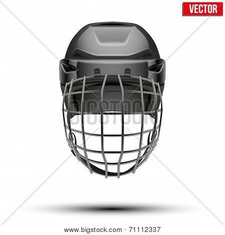 Classic black Goalkeeper Hockey Helmet isolated on Background. Vector.