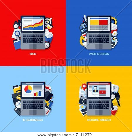 Modern Flat Vector Concepts Of Seo, Web Design, E-business, Social Media. Design Elements