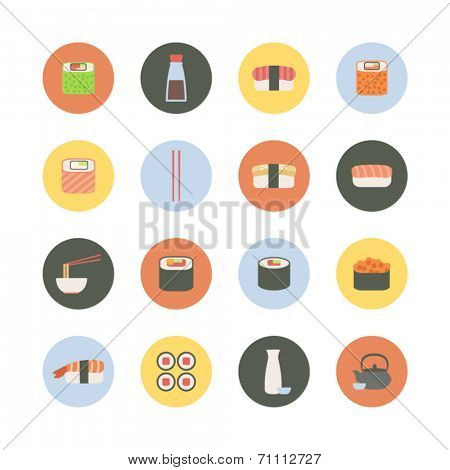 set of round sushi icon
