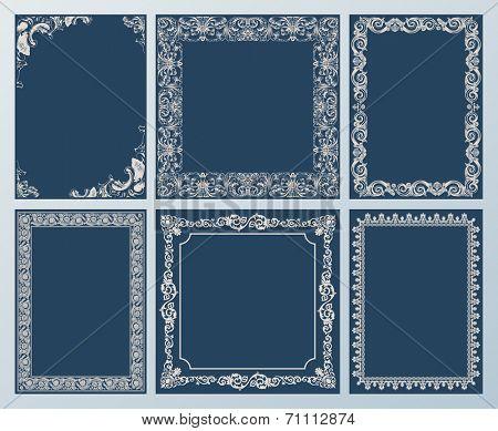 Vector elegant set. Ornate frames and vintage scroll elements black