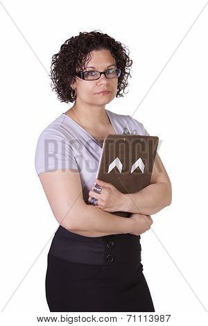 Beautiful Hispanic Woman With A Clipboard