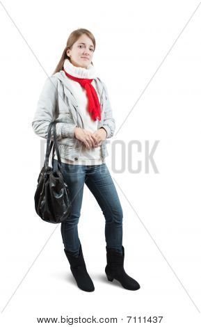 Girl  In Wintry Clothes With Bag Over White