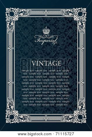 Label vector frame. Vintage antique decor ornament elements