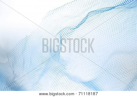 Closeup of abstract fishnet on white background. Blue tone