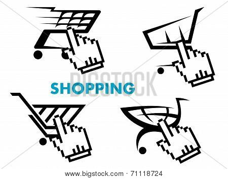 Shopping cart and retail business icons set