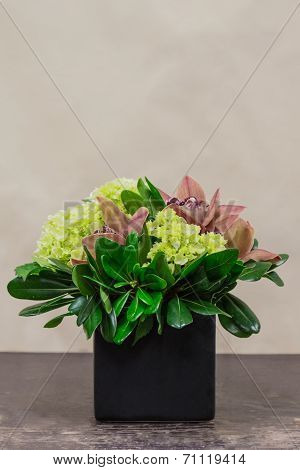 Floral Arangement With Cymbidium, Hydrangea And Greenery