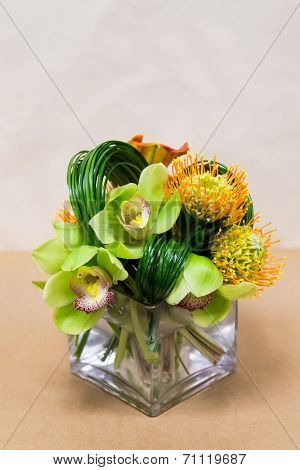 Floral Arangement With Calla Lilies, Cymbidium, Protea And Green