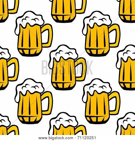 Beer tankard seamless pattern