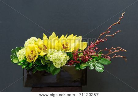 Floral Arangement With Cymbidium, Hydrangea, Orchid In Rectangul