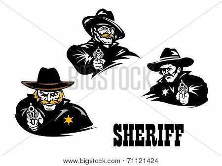 American western sheriff characters set