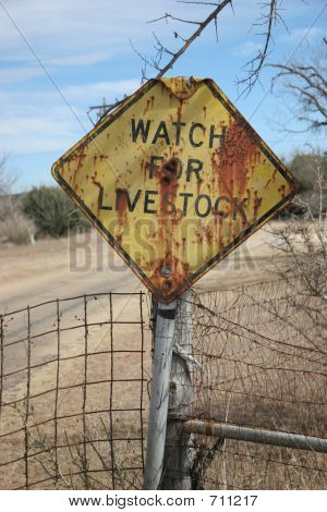 Watch For Livestock Sign