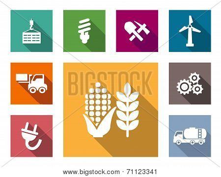 Industrial flat icons set