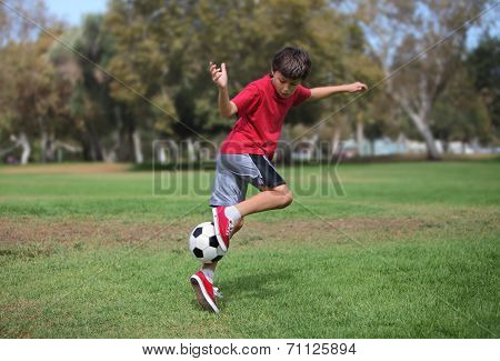 Happy young boy playing with a soccer ball