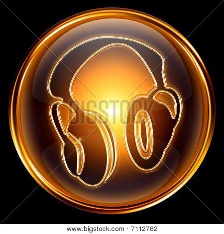 Headphones Icon Golden, Isolated On Black Background.