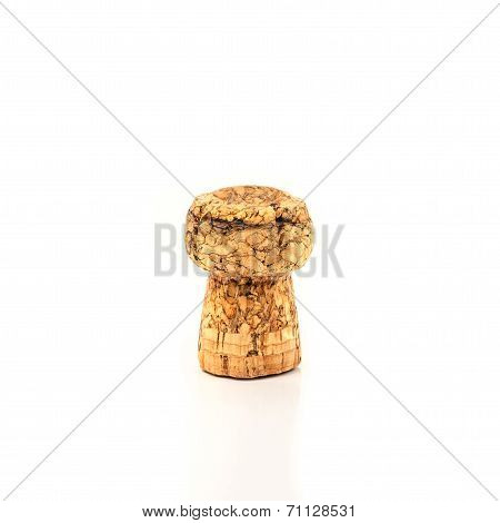 White Champagne Cork. Isolated On White Background,wine Cork With Grape