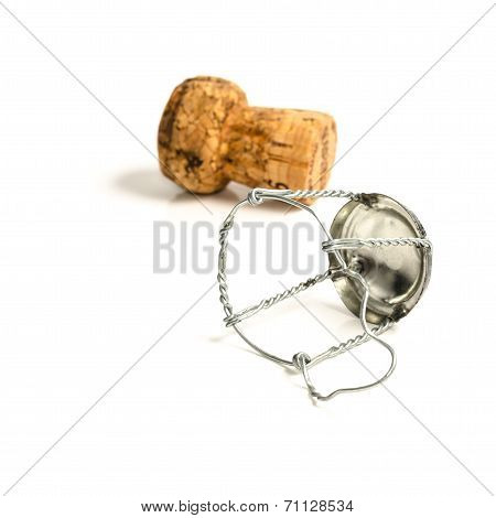 White Champagne Cork. Isolated On White Background,wine Cork Wit