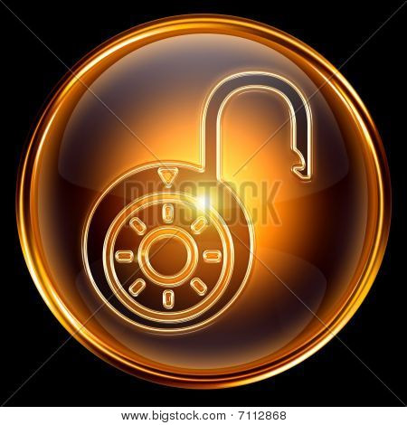 Lock Open Icon Gold, Isolated On Black Background