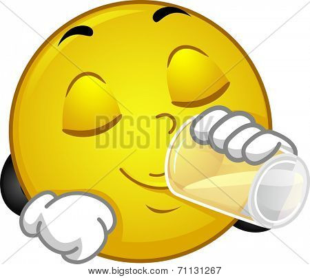 Illustration of a Smiley Drinking a Glass of Water