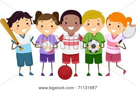 Illustration Featuring Kids Holding Different Sports Gear