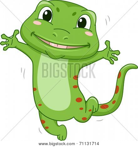 Illustration Featuring a Gecko Jumping in Glee