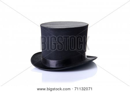 Black classic top hat, isolated on white background with soft reflection