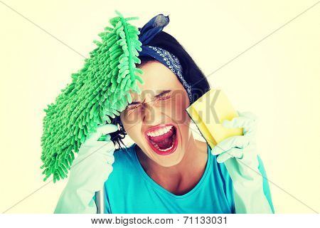 Tired frustrated and exhausted cleaning woman screaming , isolated on white