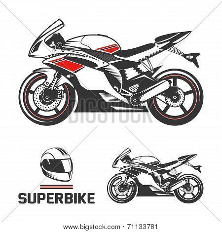 Sport superbike with helmet.