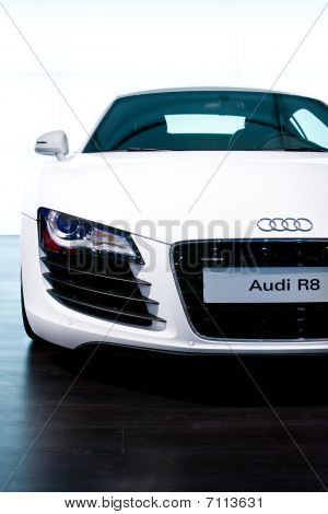Moscow, Russia - August 27: White Sport Car Audi R8 At Moscow International Exhibition Interauto On