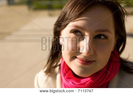 Portrait Of Beautiful Woman With Hazel Eyes