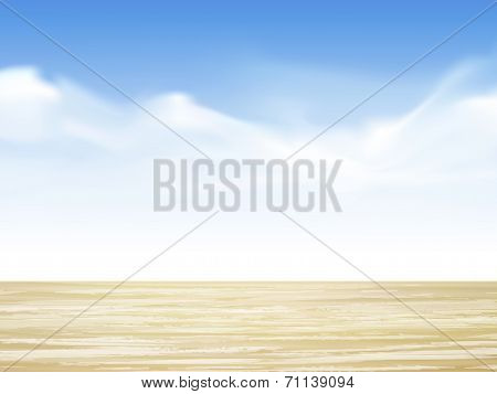 Closeup Of Wooden Desk With Sky