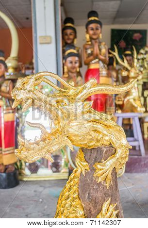Handicraft Golden Dragon Made Of Wood