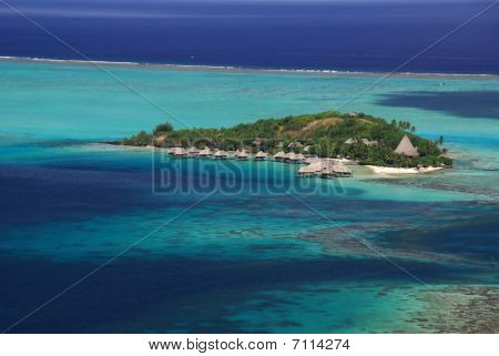 Hotel Over The Turquoise Lagoon In French Polynesia