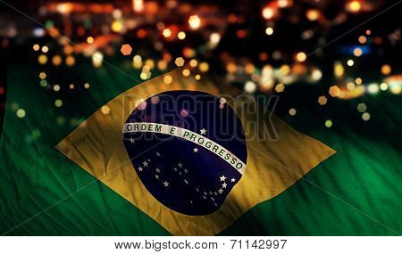 Brazil National Flag Light Night Bokeh Abstract Background