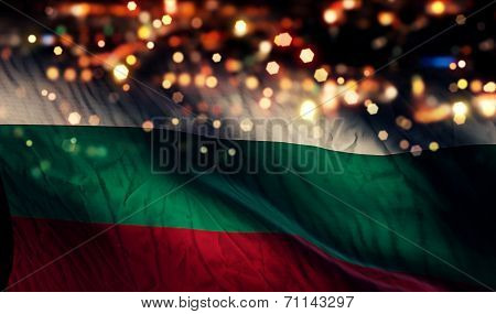 Bulgaria National Flag Light Night Bokeh Abstract Background