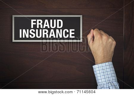Businessman Knocking On Fraud Insurance Door