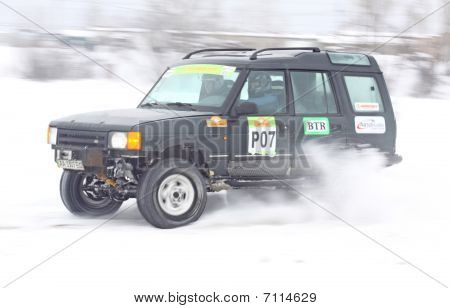 Ukraine Racing Team's Crew Rides Over Snow Track