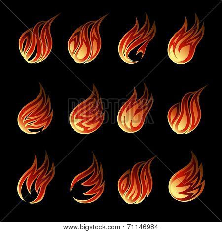 Colorful Vector Fire Icon Set