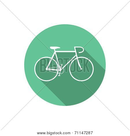 Vector Flat Style Bicycle Inside Round Green Icon