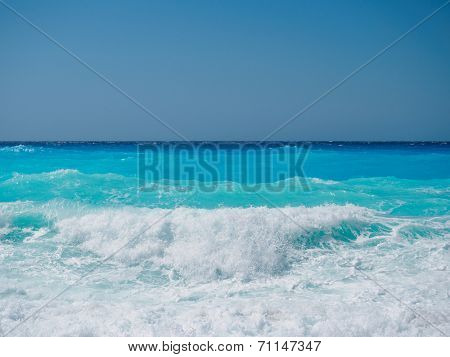 wild beach with rocks in water. Island Lefkada, Leucas or Leucadia, Levkas, Lefkas, ionian sea, Greece