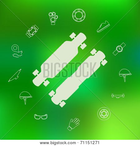 Vector icons for longboard and accessories