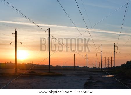 Sunset And High-voltage Line