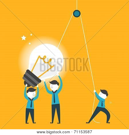 Flat Design For Team Work Concept